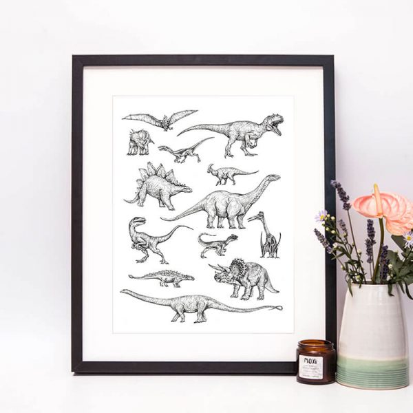 dinosaurs done in dot work black and white