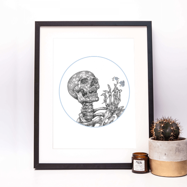 drawing of a skeleton framed with blue forget me not in hand