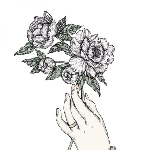 hand holding peonies victorian illustration influence