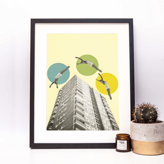 art print of swimmers jumping over building by cassia beck sold in moxi brighton