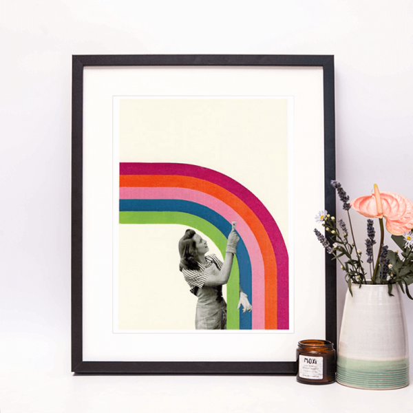 collage framed of lady painting a rainbow with a brush