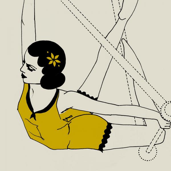 sky sisters by saffron reichenbacker woman on trapeeze