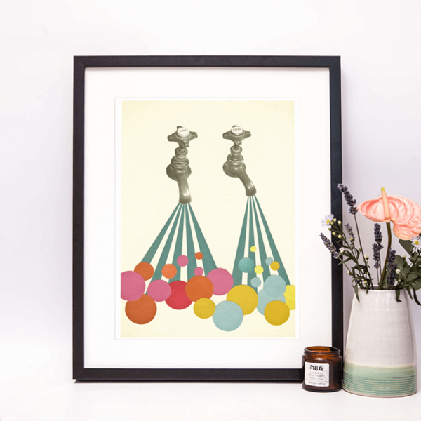 framed print of taps and coloured soap suds