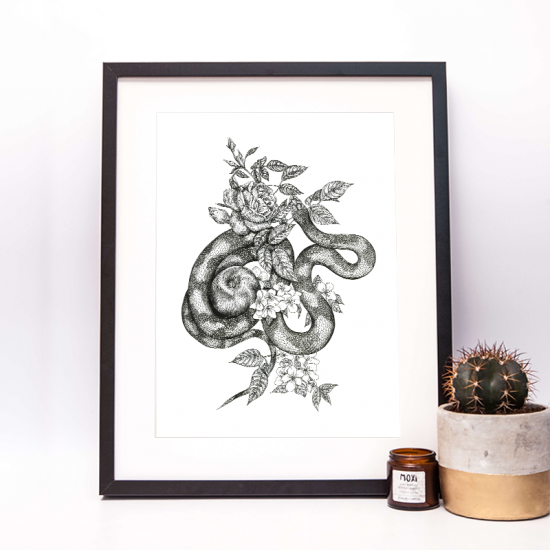 snake illustration drawing with appl and apple flowers by moxi